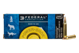 Federal PowerShok .223 Remington with 55-grain soft point hunting ammo in 20-round boxes.