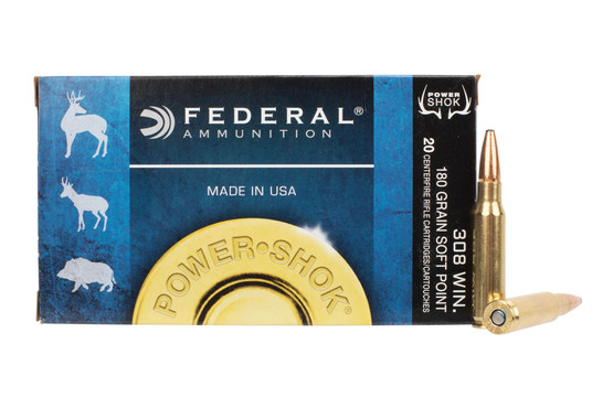 Federal Power Shok 308 Winchester Ammo features a 180 grain soft point bullet