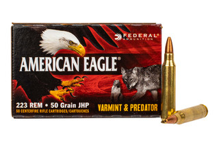 Federal American Eagle Varmint & Predator 223 Ammo features a jacketed hollow point design