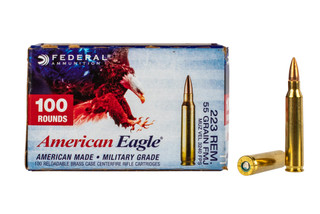Federal American Eagle 223 FMJ ammunition comes in a box of 100 rounds