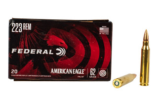 Federal American Eagle 223 Ammunition features a 62 grain full metal jacket bullet