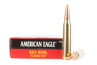 Federal American Eagle 223 ammo features a 75 grain fmj bullet