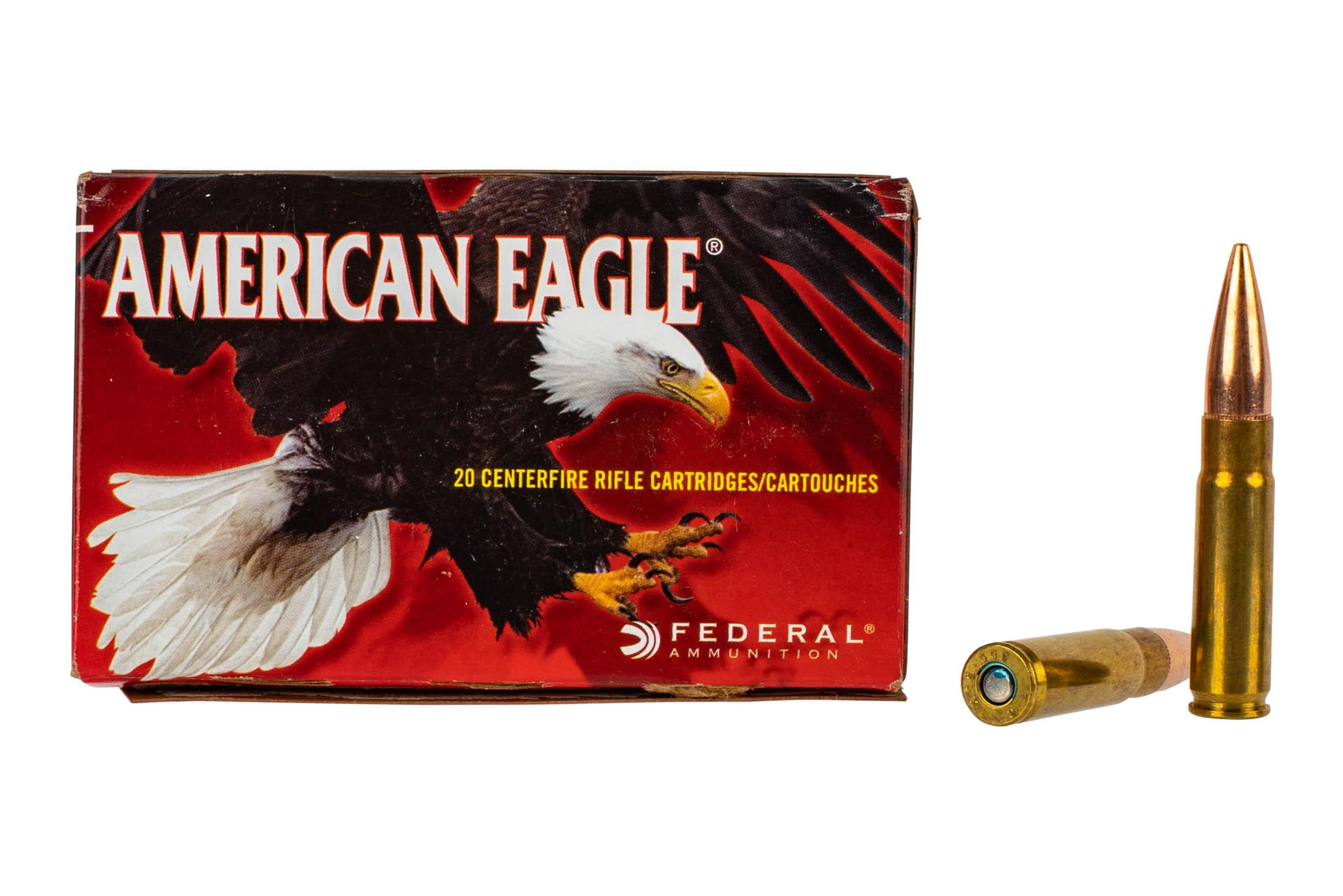 Federal American Eagle 300 BLK ammo features a 150 grain FMJ bullet