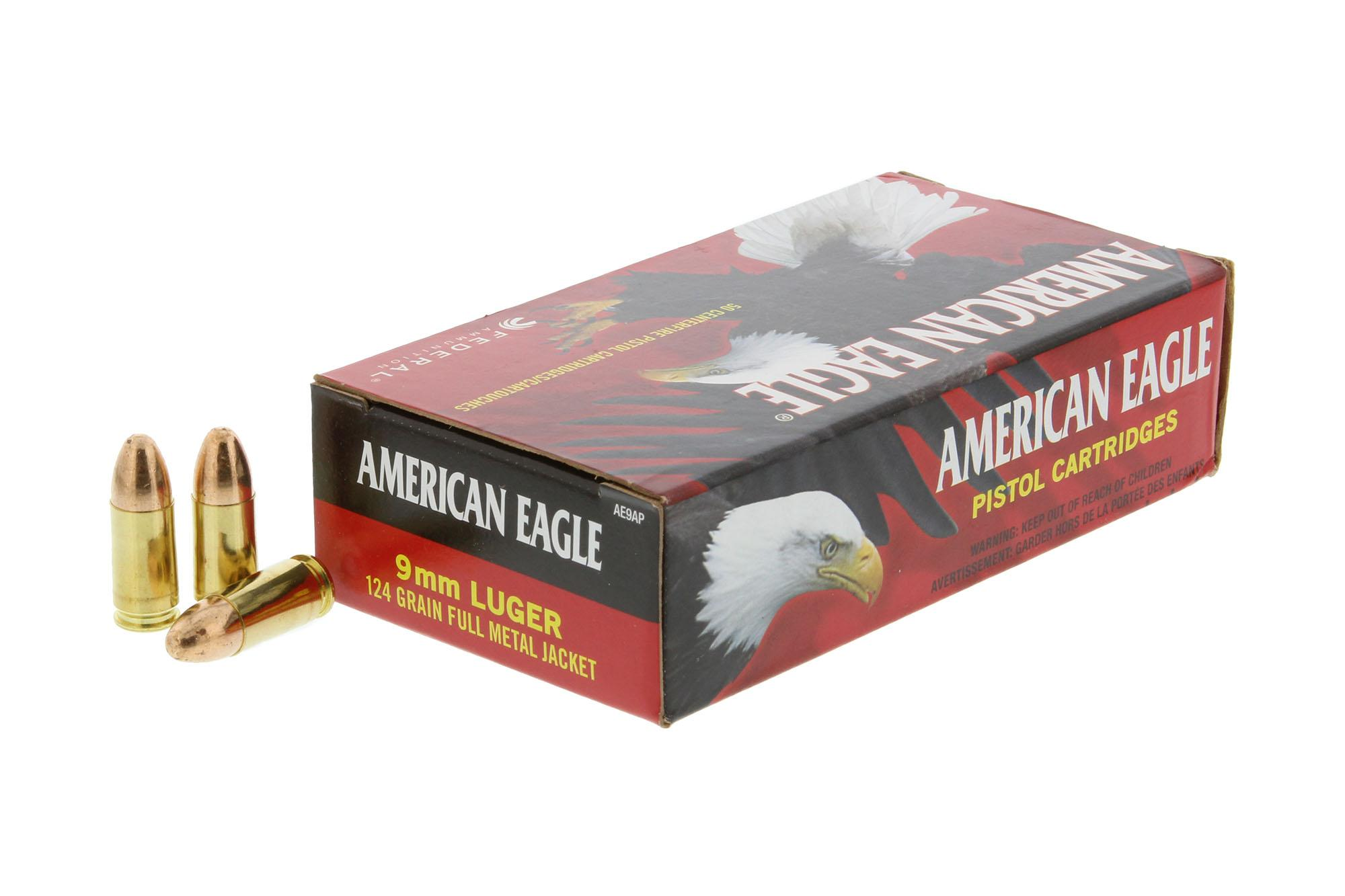 Federal American Eagle 9mm Luger 124 gr FMJ - Box of 50