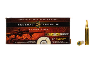 Federal Gold Medal 223 Match Ammo is loaded with 73 grain Berger hollow point boat tail bullets