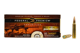 Federal Gold Medal Sierra MatchKing 223 ammunition features a 69 grain boat tail hollow point bullet