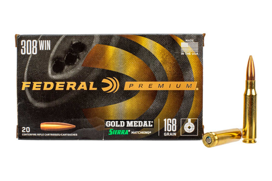 Federal Gold Medal Match 308 ammunition features a 168gr Sierra MatchKing boat tail hollow point bullet