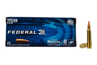 Federal Varmint and Predator 223 hunting ammo features a 40 grain V-Max ballistic tip hollow point bullet