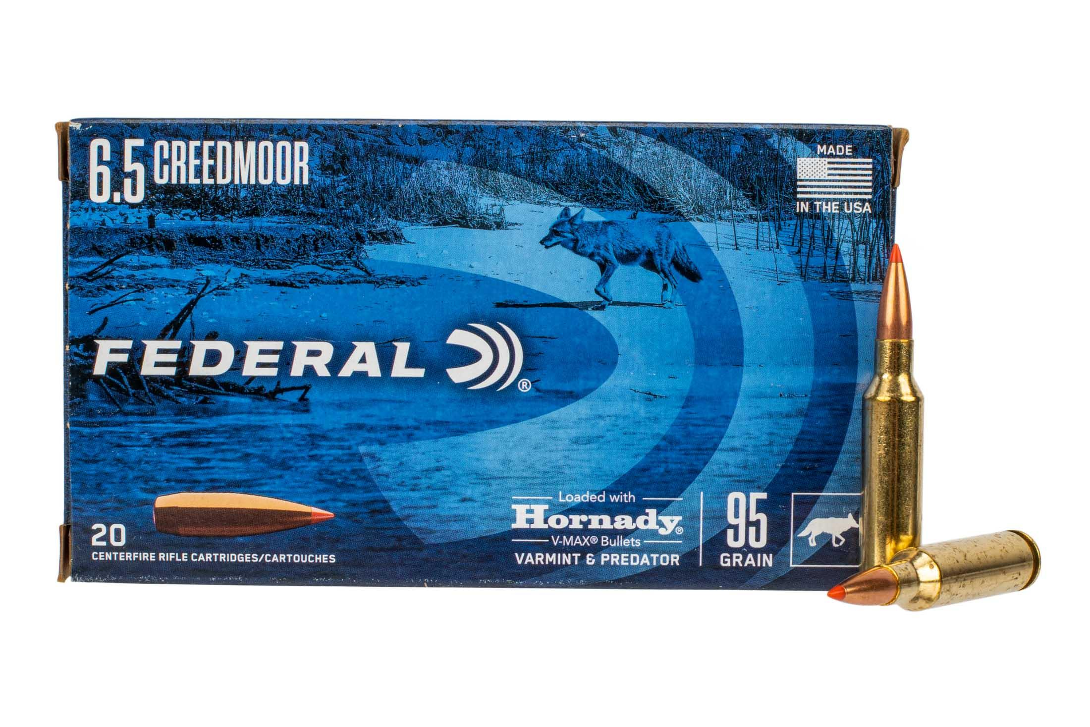 Federal Varmint & Predator 6.5 Creedmoor 95-grain V-MAX ammo is available in 20 round boxes.