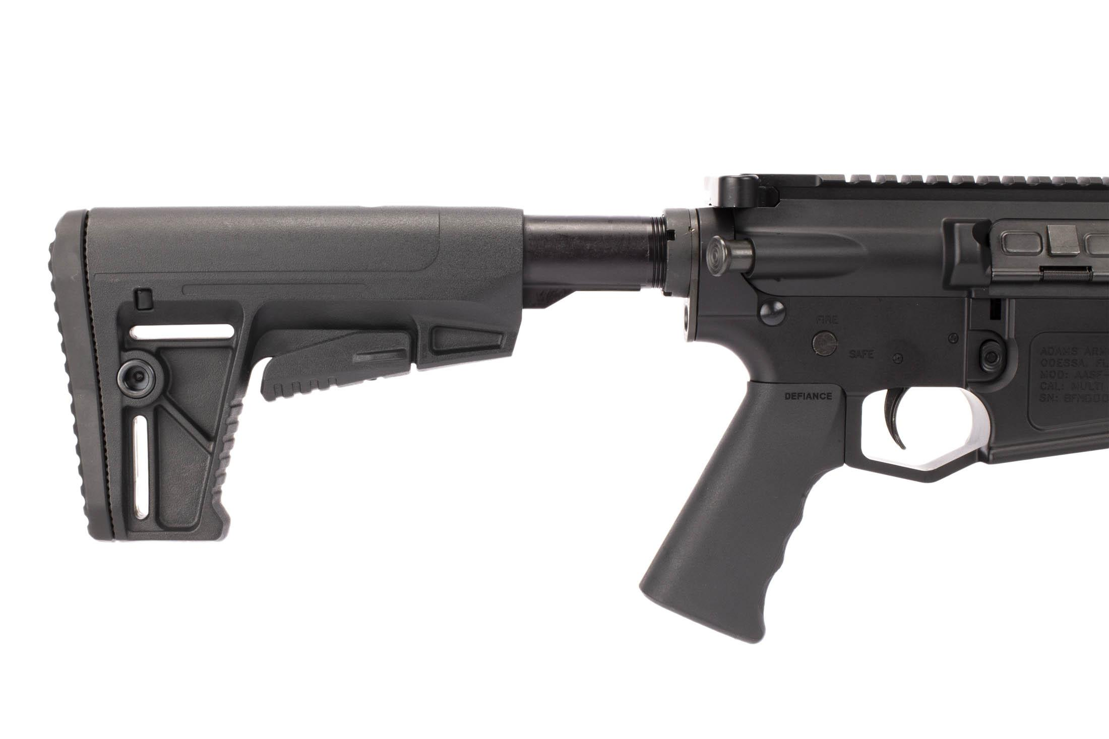 Adams Arms 16 .308 Win AR-10 rifle with short stroke gas piston is equipped with a lightweight carbine stock