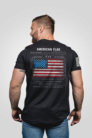 Nine Line American Flag Short Sleeve T-Shirt in black, rear view