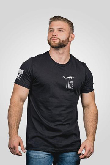 Nine Line American Flag Short Sleeve T-Shirt in black, front view