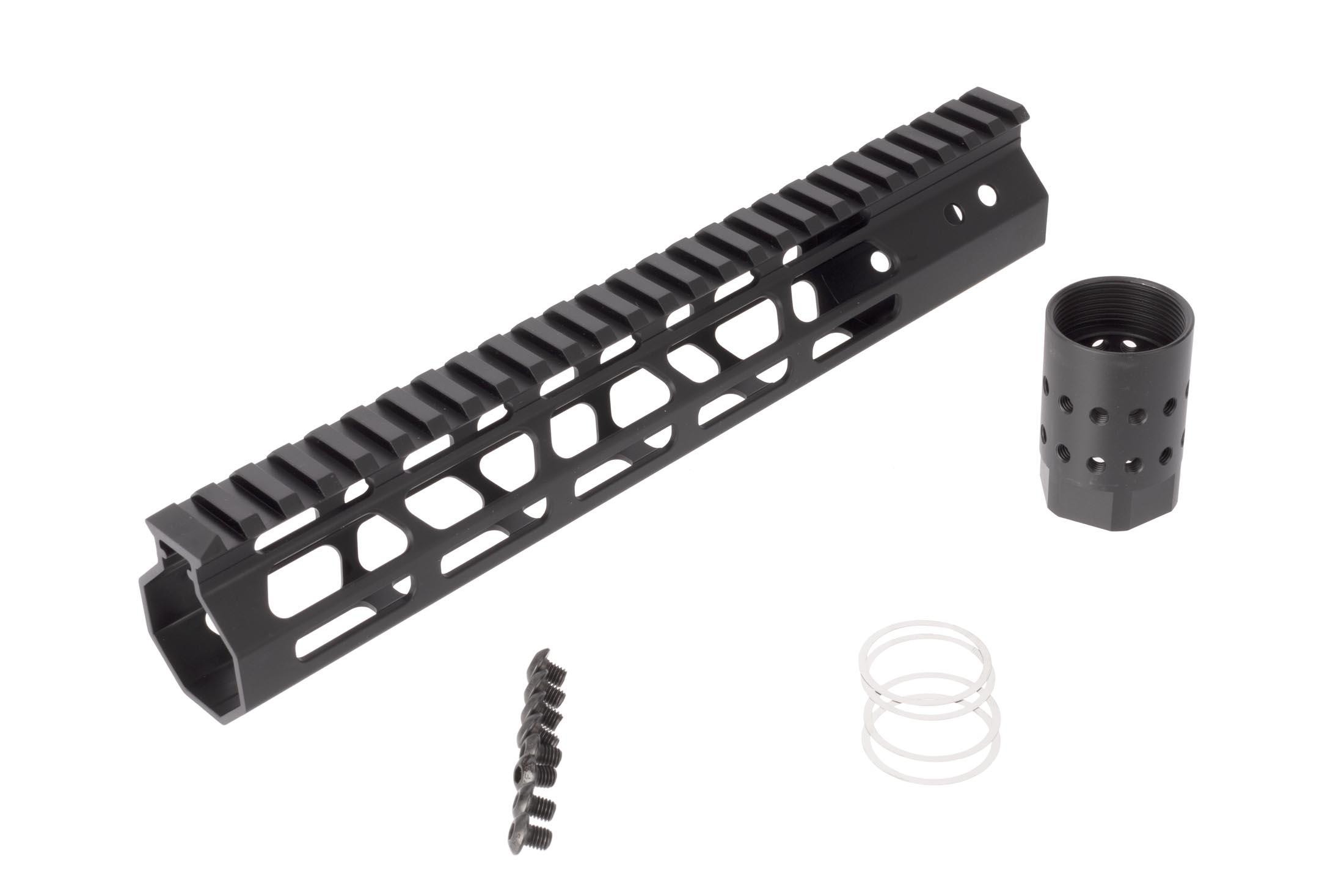 FM Products ultra light free float M-LOK handguard provides 10.5 inches of real estate for accessories and includes mounting hardware.
