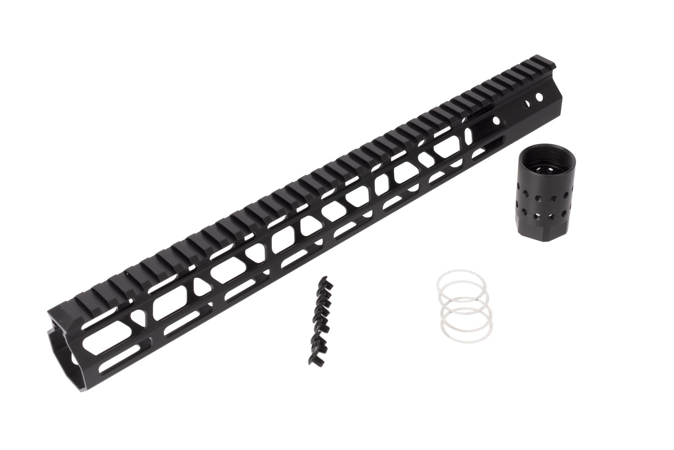 FM Products ultra light free float M-LOK handguard provides 15 inches of real estate for accessories and includes mounting hardware.