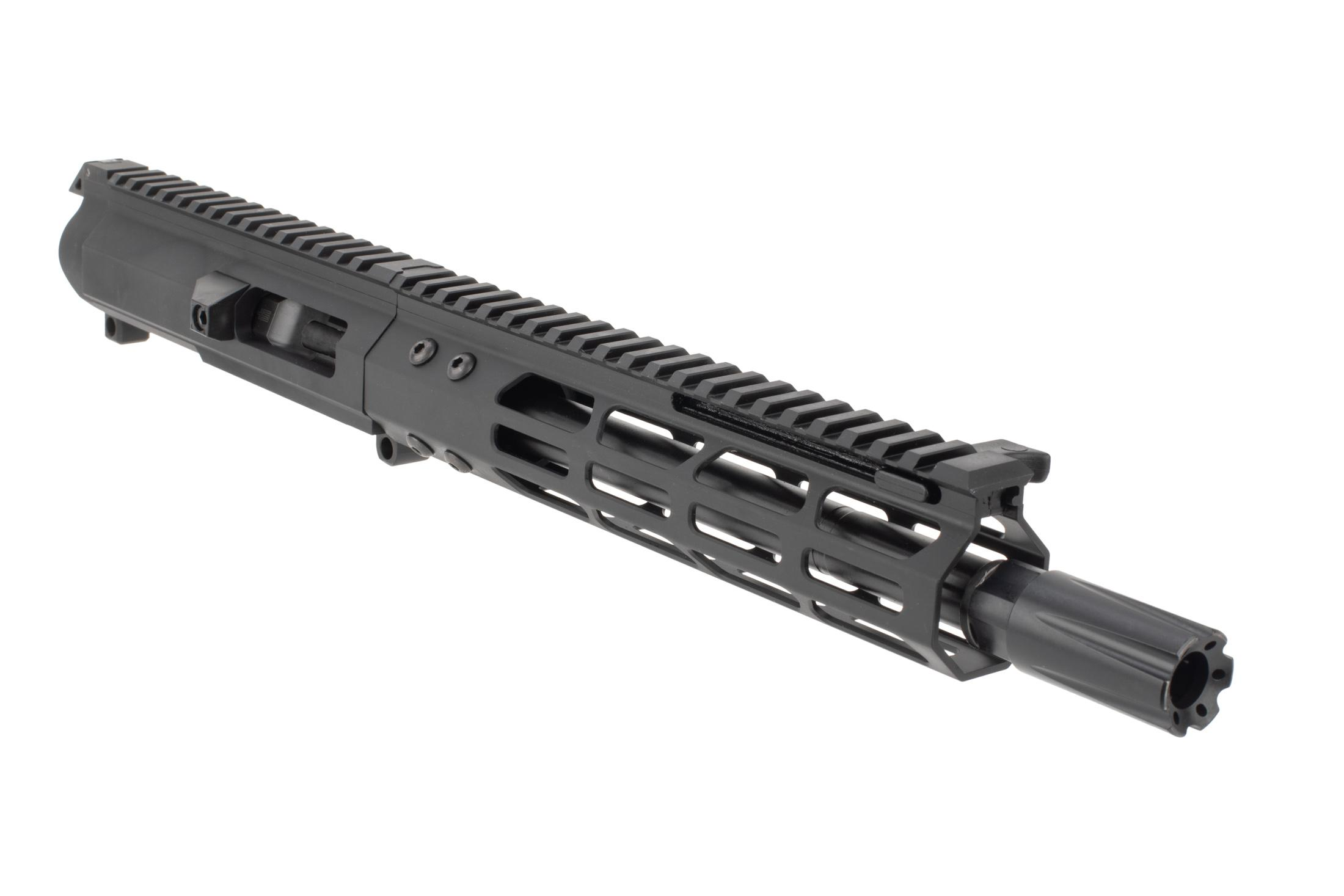 Foxtrot Mike Complete 8.5in .45 ACP AR-15 upper receiver with forward side charging handle, M-LOK Rail, and blast diffuser