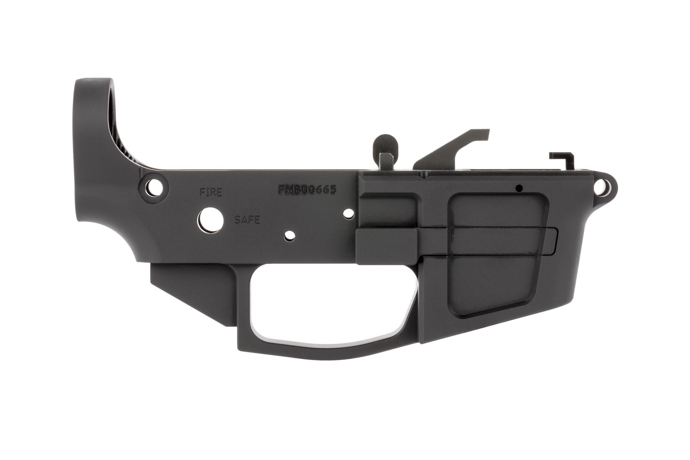 FM Products FM9B stripped billet 9mm lower receiver features an extended magazine release for easy manipulation