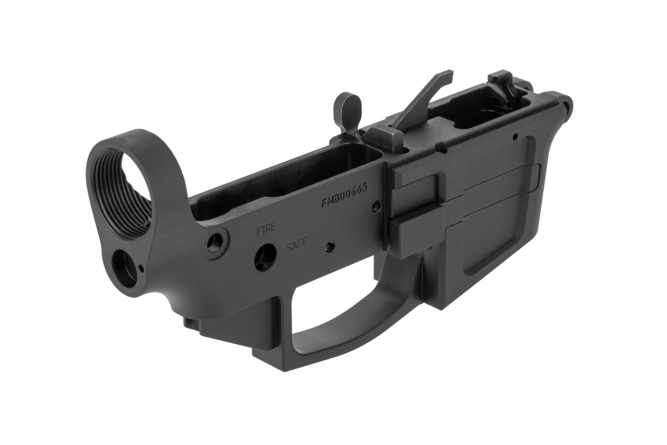 FM Products stripped billet 9mm AR15 lower receiver features a receiver tension screw for optimal receiver fit
