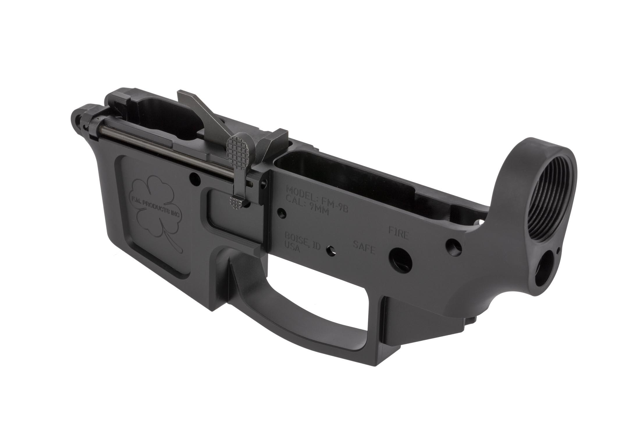 FM Products FM-9B stripped billet AR-15 9mm lower receiver is machined in Boise Idaho in the USA