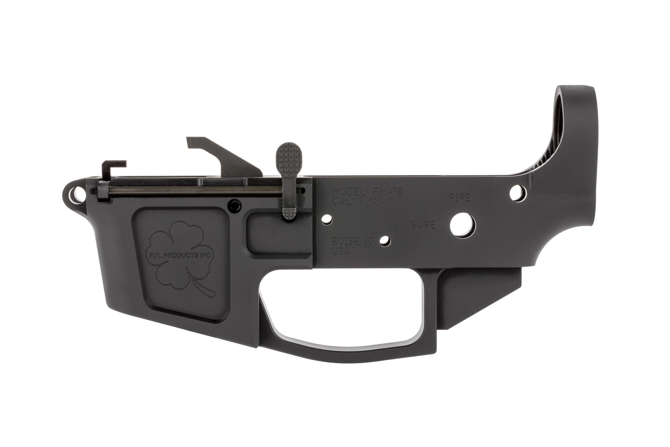 FM Products 9mm billet stripped lower receiver for the AR15 accepts Glock magazines and features a Shamrock roll mark