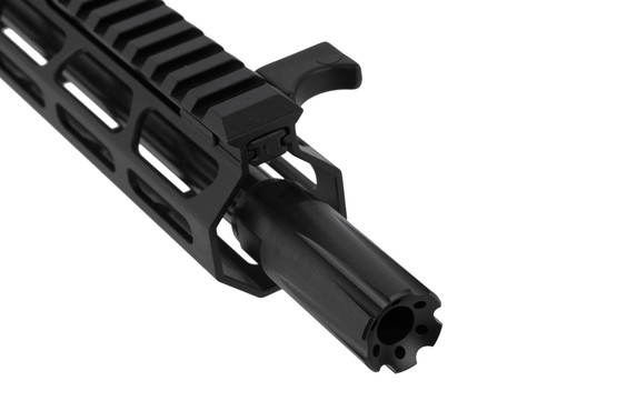 FM Products 8.5in 9mm complete side charging AR15 upper receiver features an effective blast diffuser