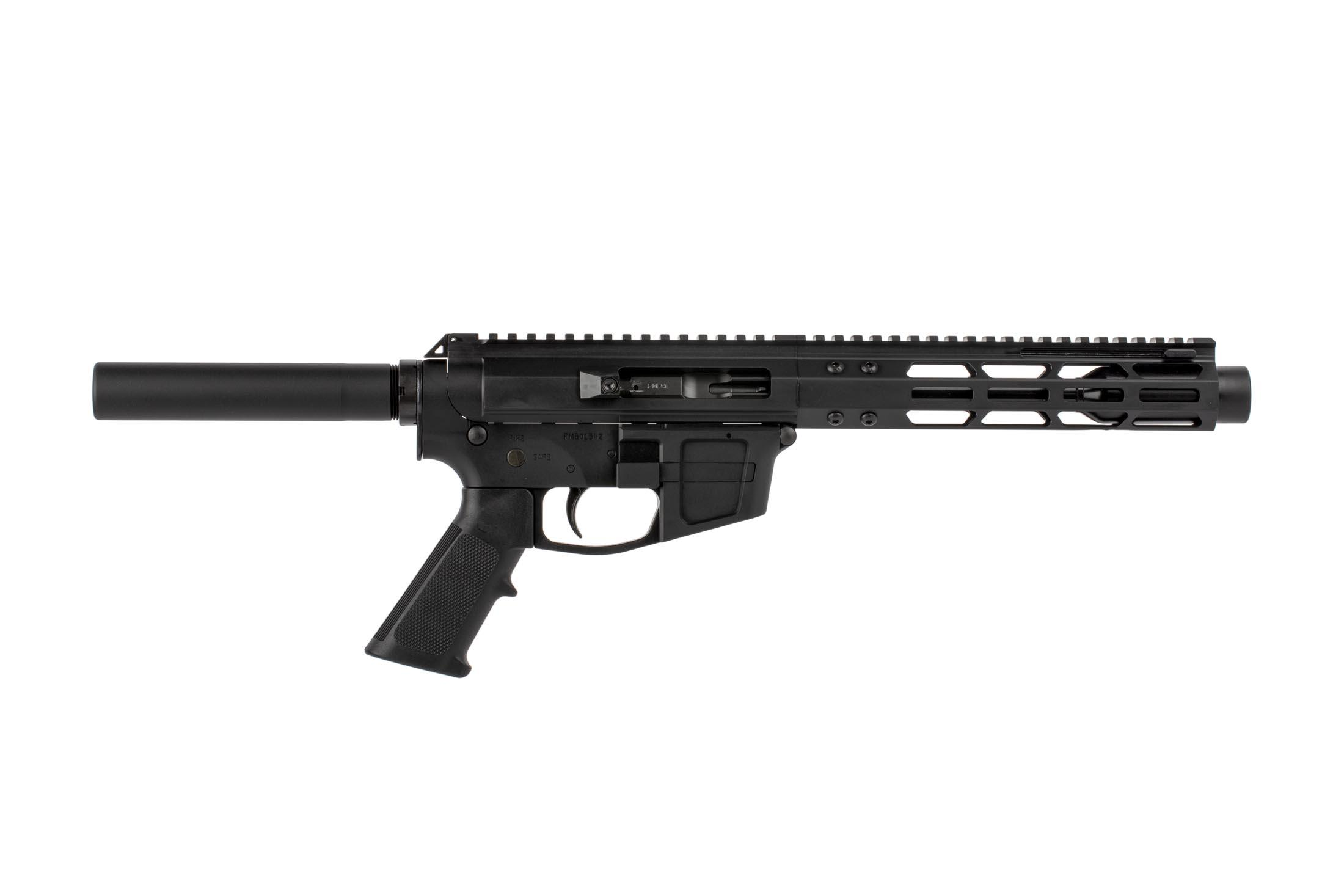 The FM Products FM 9 pistol comes with an M-LOK handguard and blast diffuser