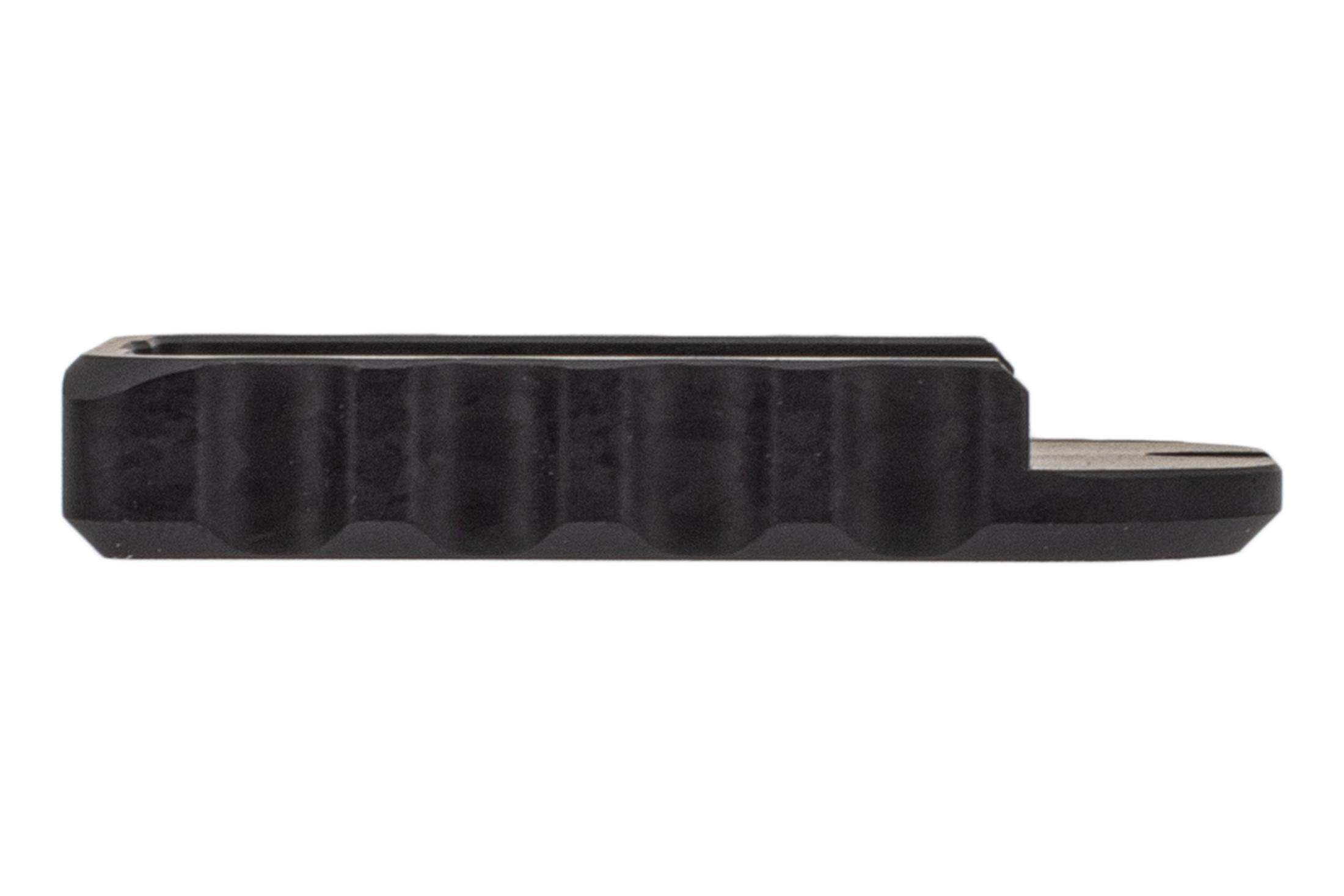 SLR Rifleworks black anodized Glock magazine floor plate is compatible with Magpul magazines for Glock handguns