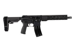 The Radical Firearms 300 BLK pistol with 10.5 inch barrel features the slim FCR M-LOK handguard and SBA3 brace