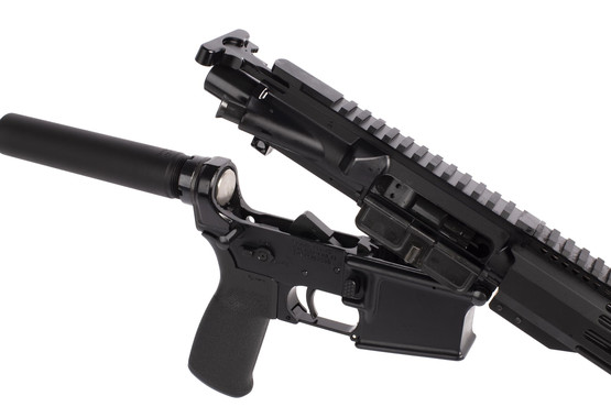 Radical Firearms complete 300 BLK AR-15 pistol has a standard carbine buffer and an M16 bolt carrier group with KAK buffer tube