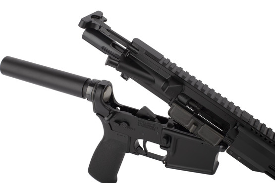 Radical 10.5in 300 BLK AR15 pistol featuers an M16 cut bolt carrier group and standard MIL-SPEC charging handle