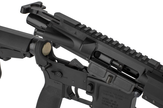 The Radical Firearms 300 Blackout AR15 pistol featuresd an M16 cut bolt carrier group and Mil-Spec charging handle