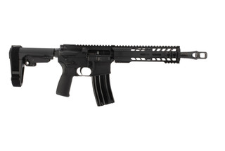 The Radical Firearms 458 SOCOM pistol features an SBA3 arm brace and MHR handguard
