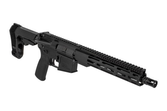 The Radical Firearms 5.56 AR pistol with 10.5 inch barrel features a carbine length gas system