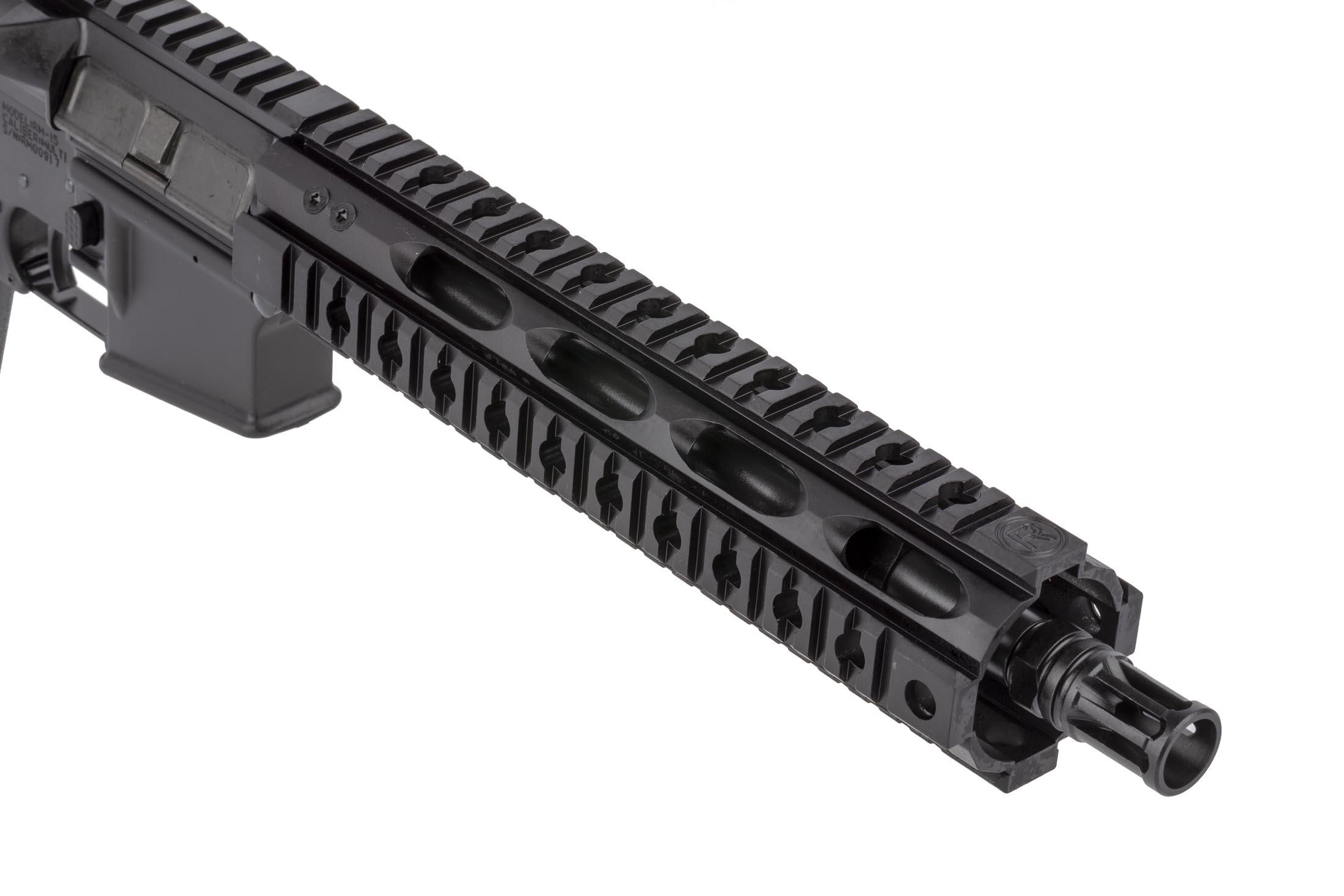 Radical Firearms 10.5in 5.56 NATO AR pistol is threaded 1/2z28 and topped with an effective .223 caliber A2 flash hider.
