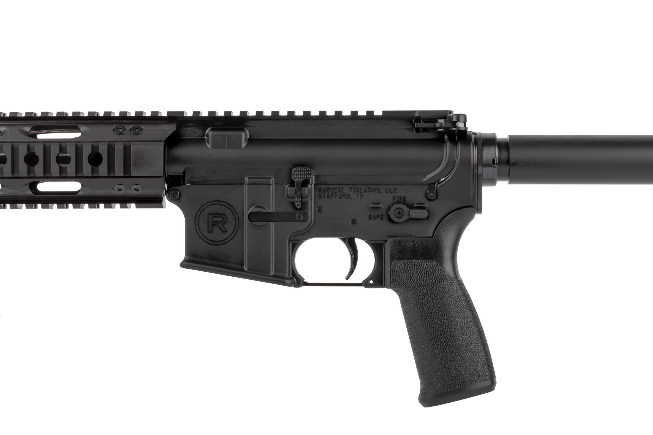 Radical Firearms 10.5in 5.56 NATO AR-15 pistol features an ambidextrous safety seletor and enhanced bolt catch