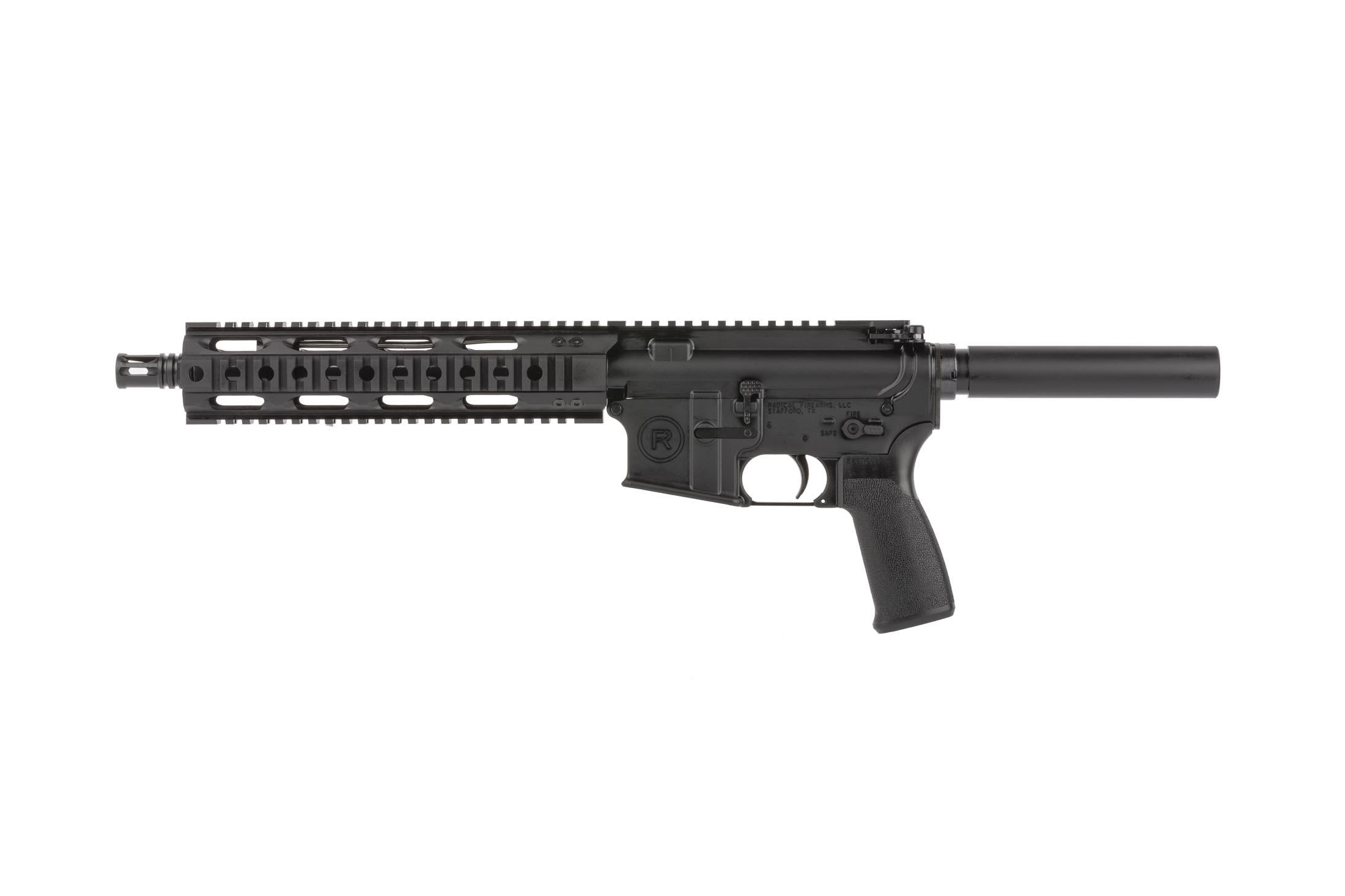 Radical Firearms 5.56 NATO AR15 pistol with 10.5in barrel has a lightweight free float quad rail handguard