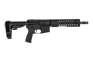 The Radical Firearms 5.56 pistol 10.5 inch barrel with MHR handguard features an SBA3 arm brace