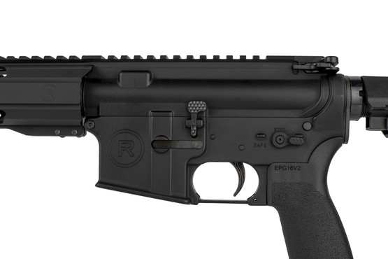 The Radical Firearms 5.56 AR15 pistol comes with an extended billet bolt catch