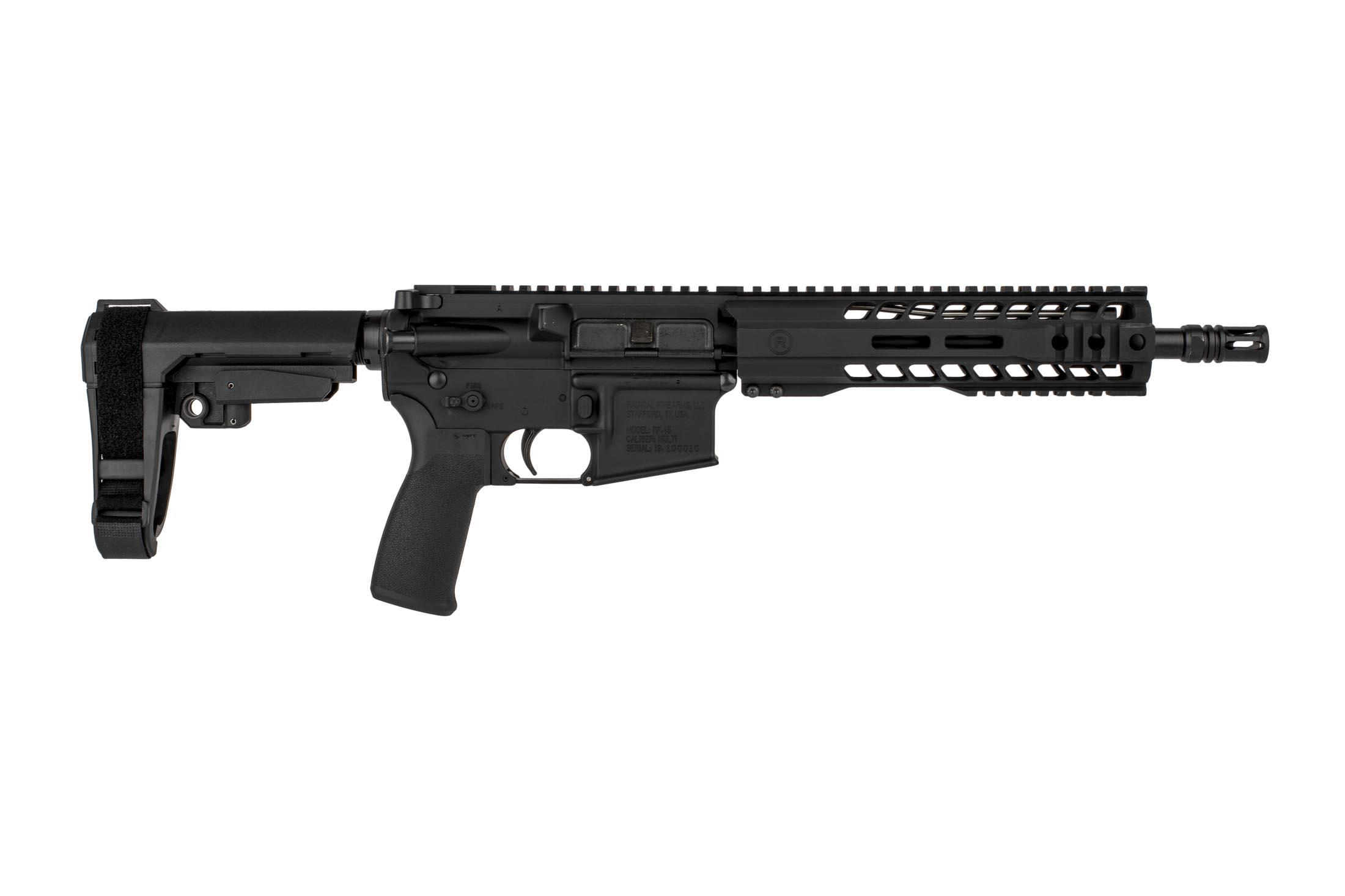 The Radical Firearms 7.62x39 pistol features an SBA3 arm brace and MHR free float handguard