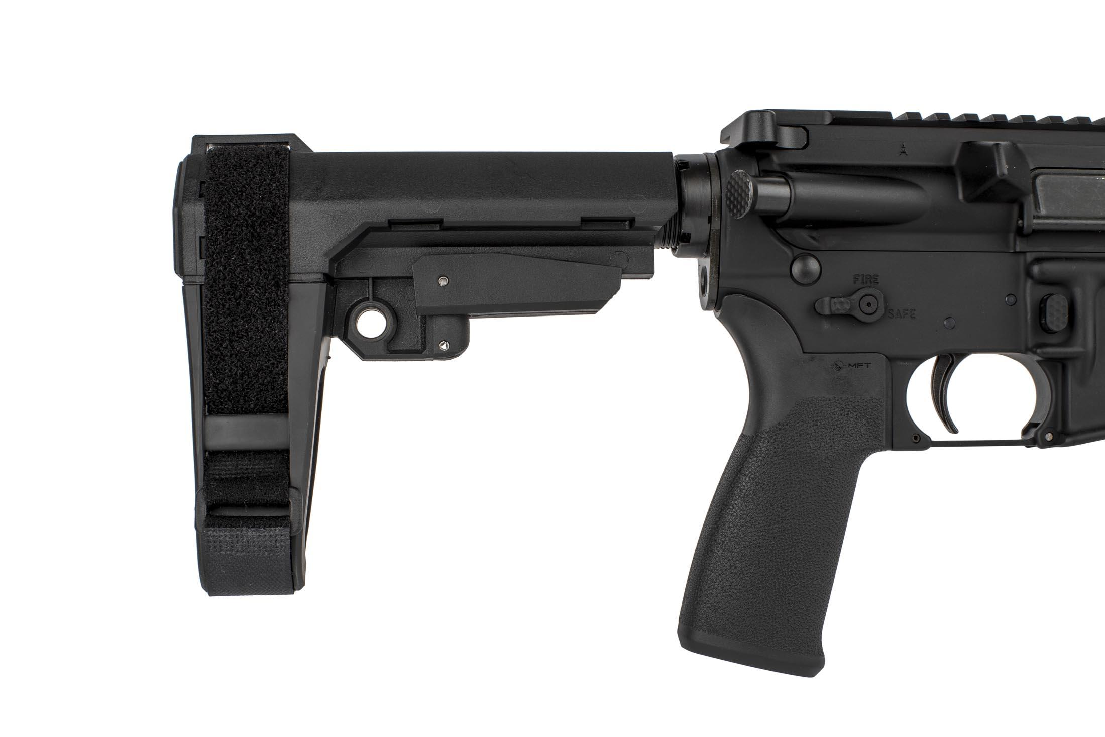 The 7.62x39 pistol from radical firearms comes with a 5 position adjustable SBA 3 arm brace