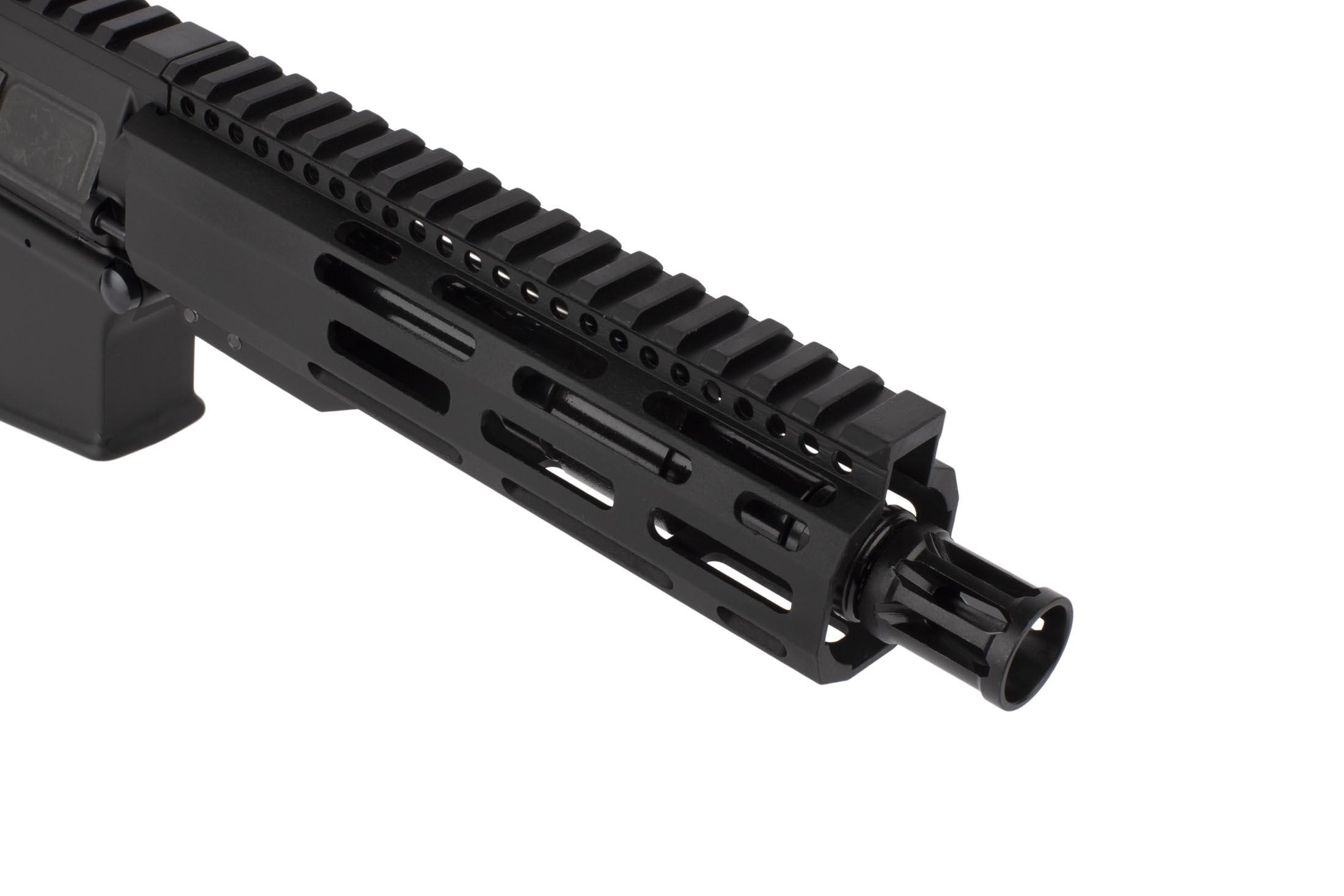 Radical Firearms 5.56 NATO AR pistol with 7.5in barrel is threaded 1/2x28 and topped with a highly effective A2 flash hider