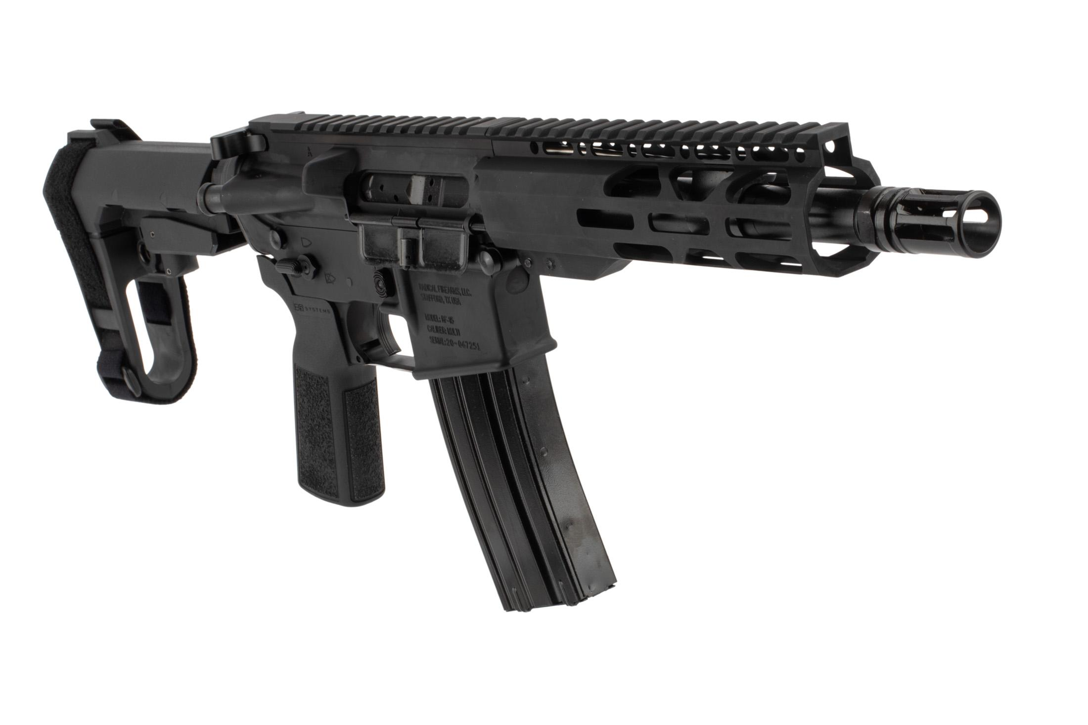 The Radical Firearms .300 blackout pistol comes with an A2 flash hider and pistol length gas system