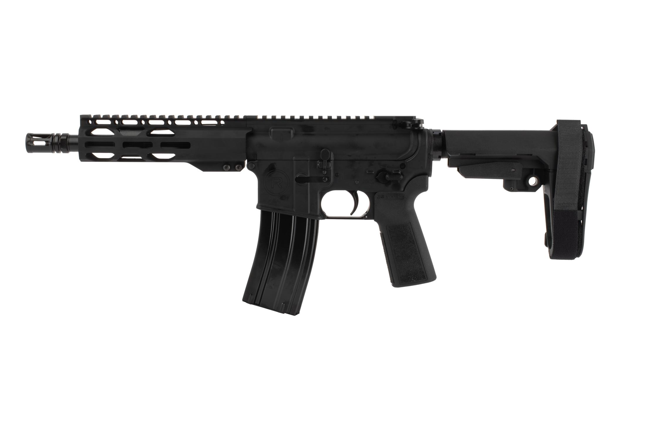 The Radical Firearms 300 blackout AR pistol with birdcage style flash hider and a 1:7 twist rate