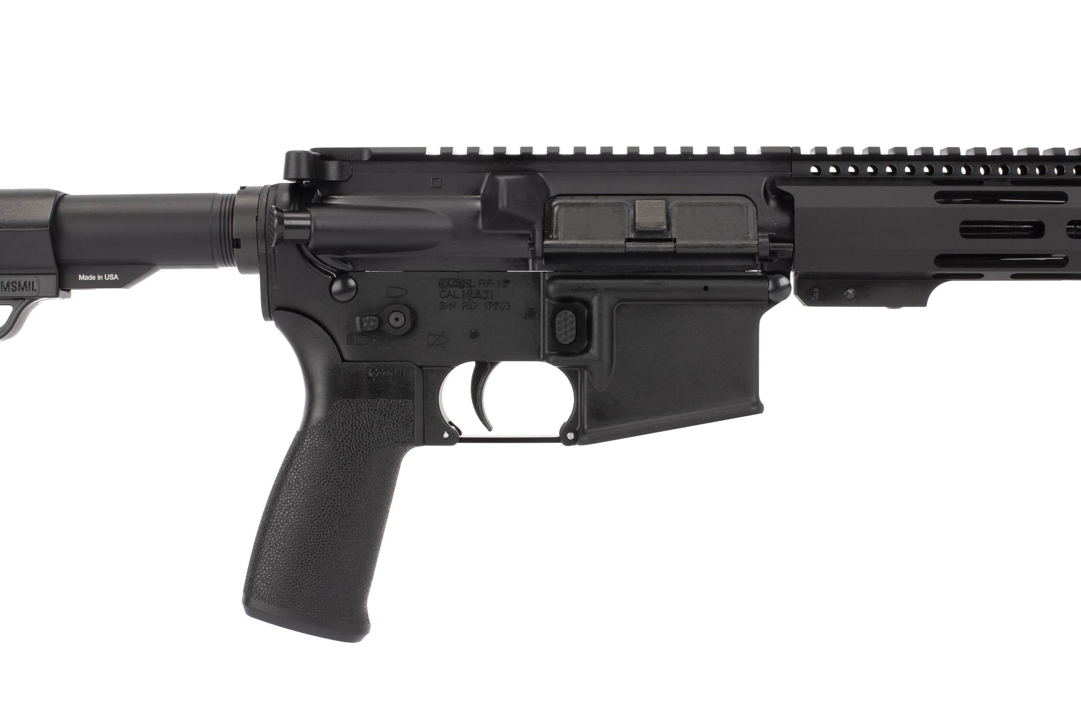 Radical Firearms 16 inch 300 BLK AR-15 carbine has an ambi safety, enhanced mag release, and Mission First Tactical grip.