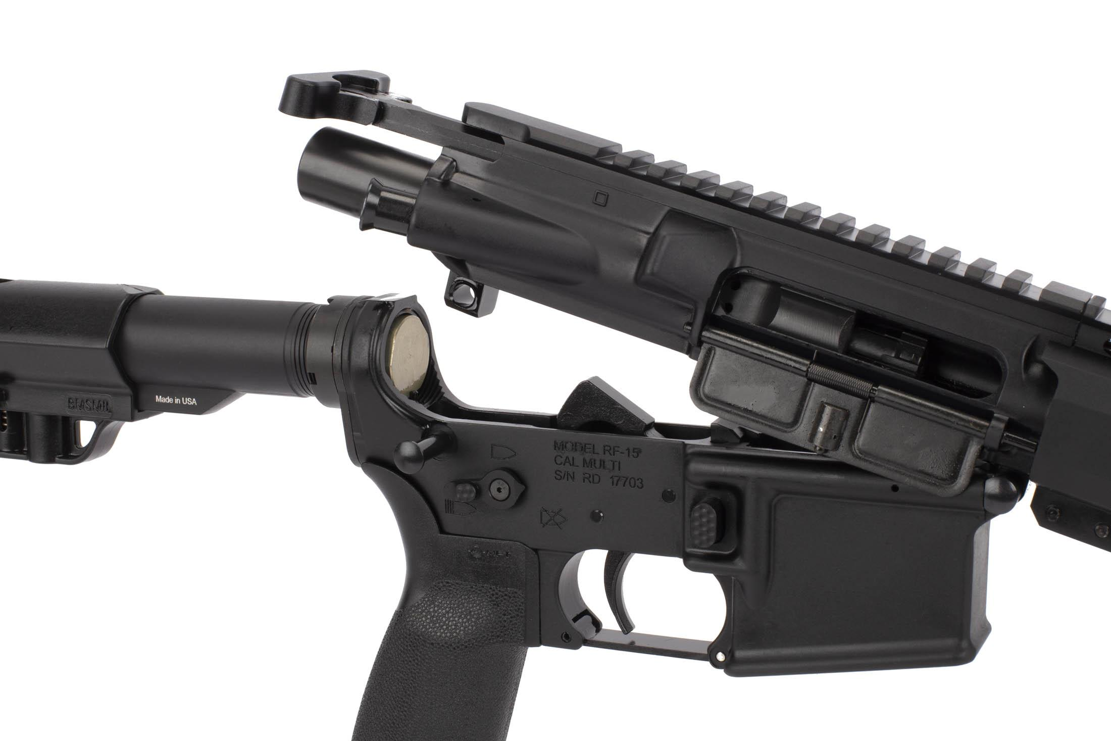 Radical Firearms 16in 300 BLK AR-15 has a standard carbine buffer, MIL-SPEC M16 bolt carrier group, and MIL-SPEC trigger.