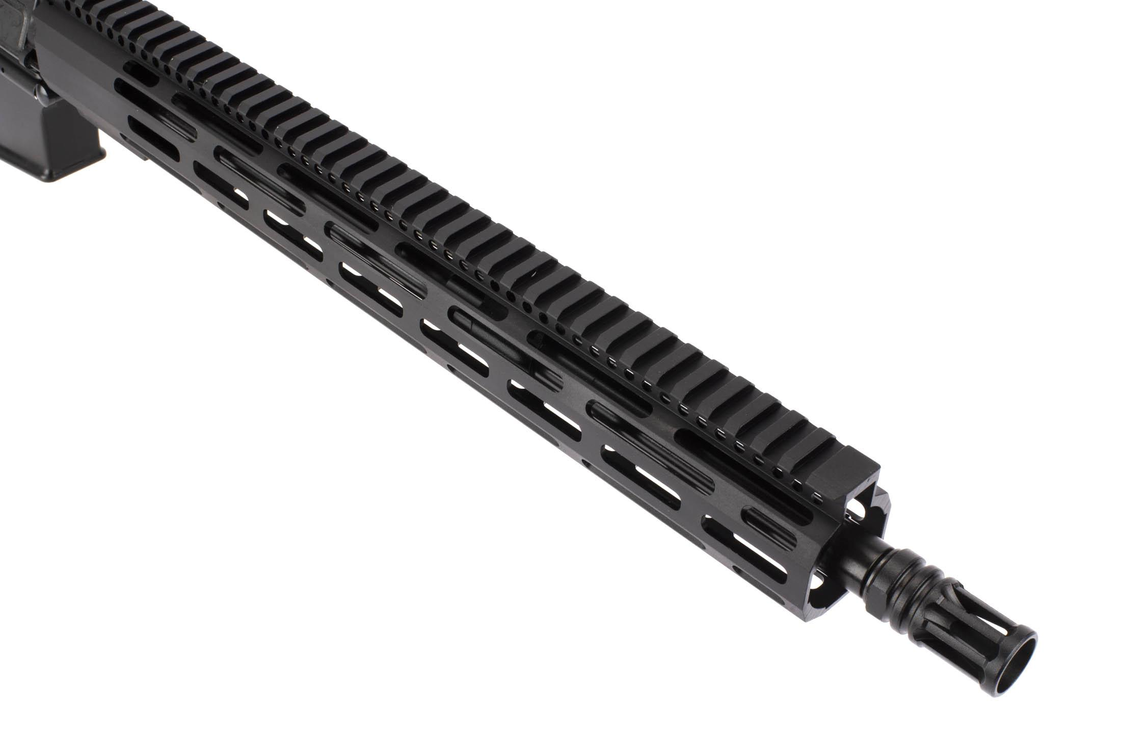 Radical Firearms AR15 with 16in 5.56 NATO SOCOM contour barrel is threaded 1/2x28 with an A2 flash hider.