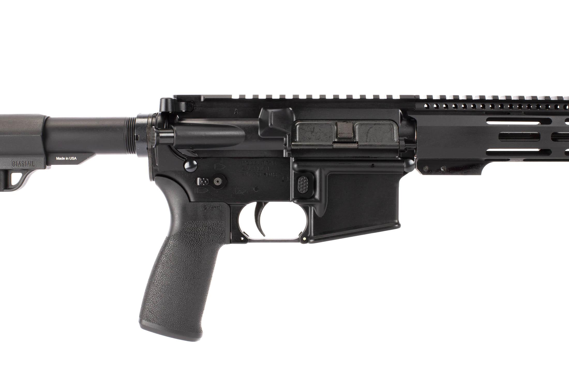 Radical Firearms 16in 5.56 NATO AR-15 with enhanced magazine release, MFT pistol grip, and ambidextrous safety selector.