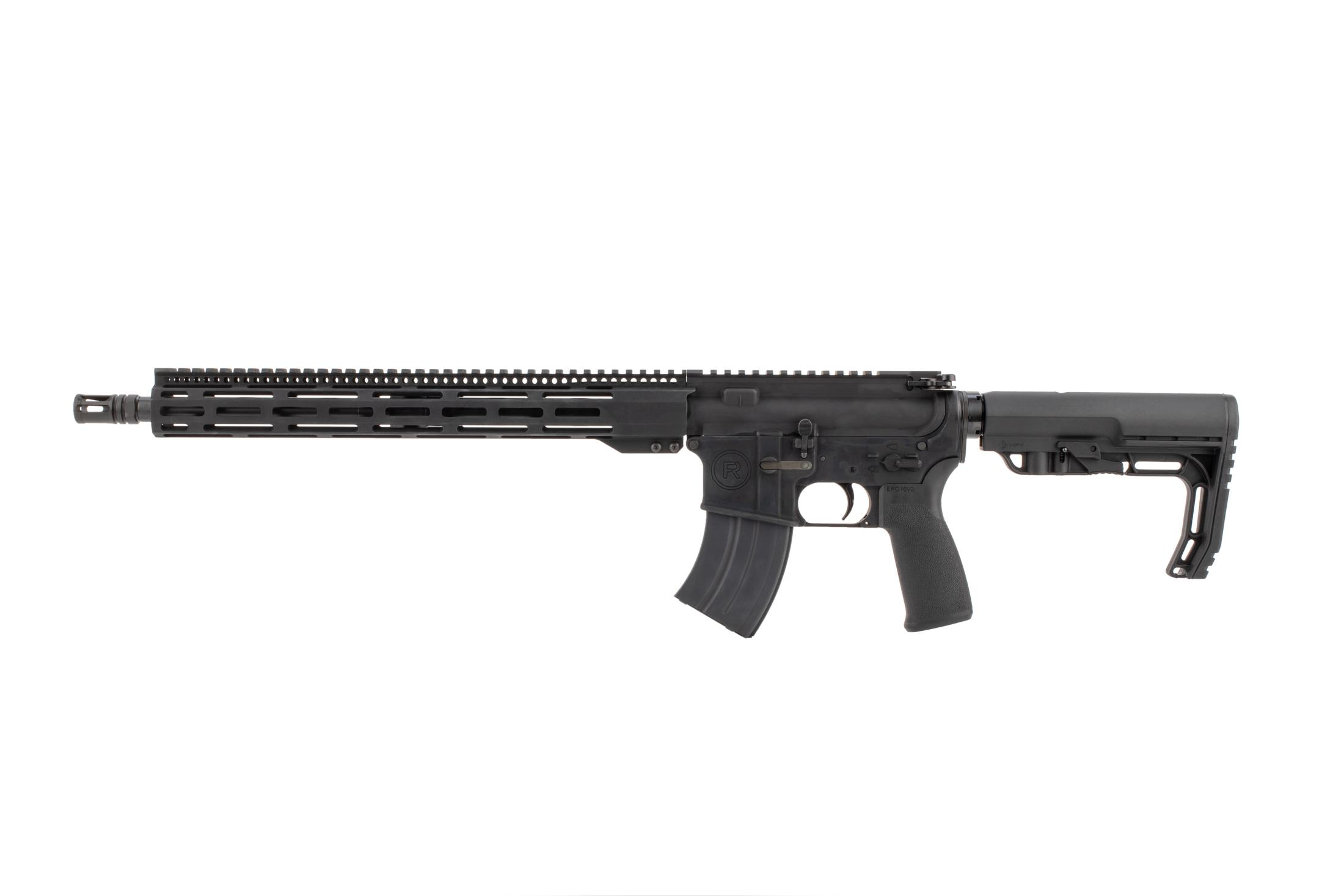 Radical Firearms 7.62x39mm AR with 16in barrel is threaded 5/8x24 and topped with an effective A2 flash hider