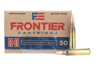 Hornady 5.56 NATO 55gr Full Metal Jacket ammo features a brass casing and non-steel core