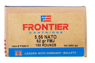 Hornady Frontier 556 ammunition is loaded with a 62 grain fmj bullet