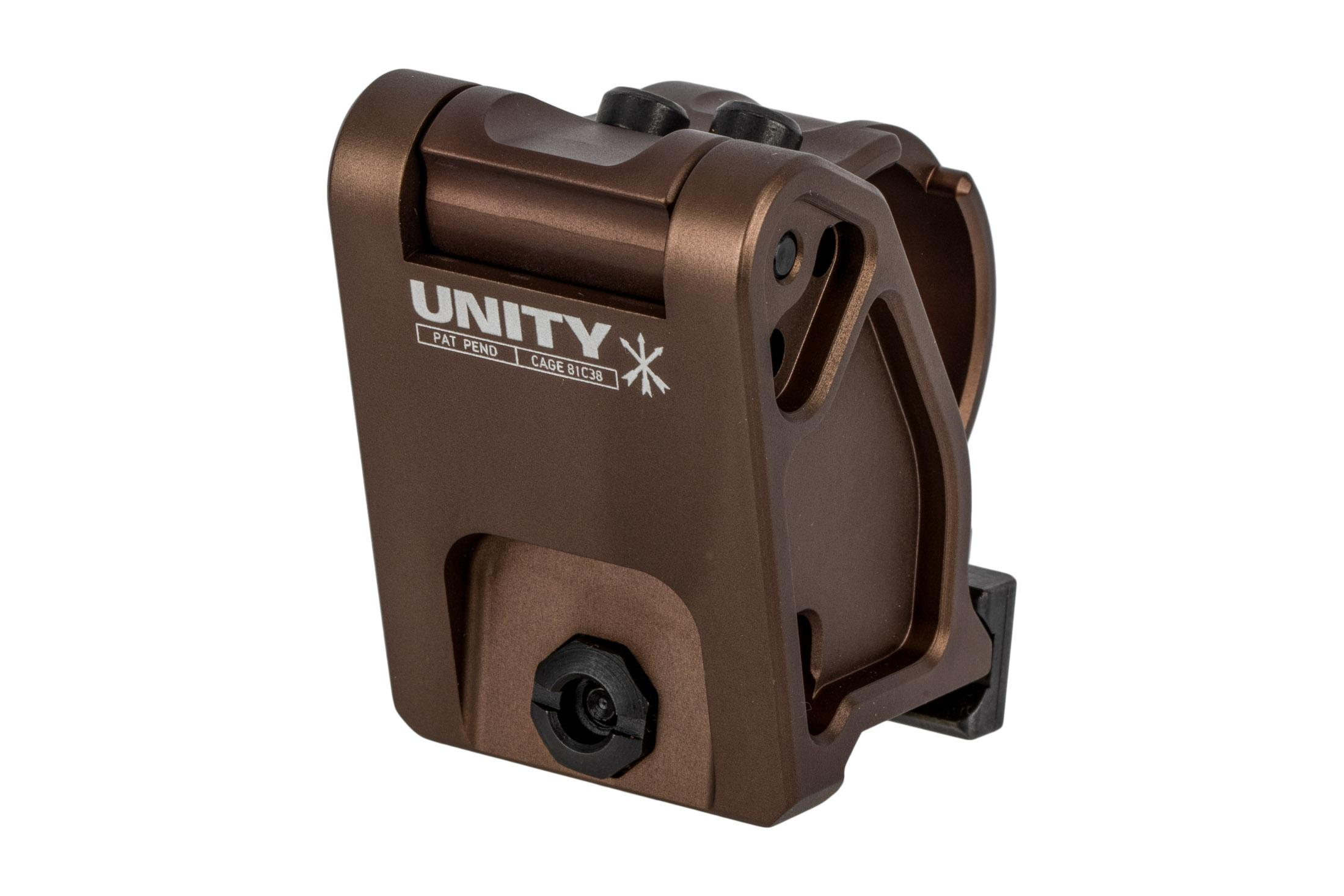 Unity Tactical 30mm magnifier mount FAST features an FDE anodized finish